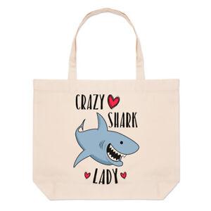 Crazy Shark Lady Large Beach Tote Bag - Funny Shopper Shoulder
