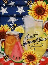 Dyrenson Watermelon Bees Garden Flag Double Sided Sweet Summer, Flower House Yar