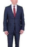 Mens 50R Mens Modern Fit Blue Plaid Two Button Wool Suit