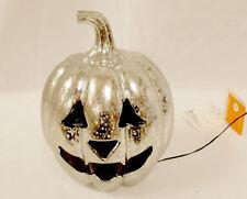 "LED Light Up Pumpkin Silver Metallic Sponge Painted Speckled 8"" NWT"