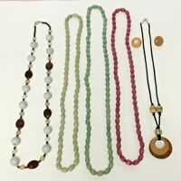 Vintage Boho Style Wood Beaded Long Necklace Earring Mixed Lot Wooden Plastic