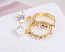 18K Yellow Gold Plated Earrings Stud Round Clear Zircon Crystals Classic Gift