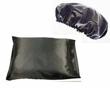 1pc Queen/Standard Satin Pillow Case with 2pc Matching Bonnet Set Many Colors!