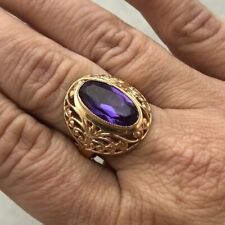 RUSSIAN SOVIET USSR VINTAGE ESTATE 14K 583 ROSE GOLD AMETHYST SIMULANT RING