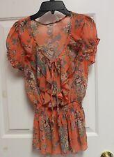 POETRY Floral Blouse Orange Womens S Beautiful MSRP $36.95