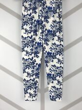 Flowers One Size Blues & White Black Outlined OS Leggings Pants Buttery Soft