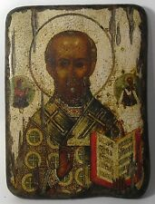 Handmade copy ancient icon ORTHODOX CHURCH Prayer ICON Nicholas Wonderworker 17S