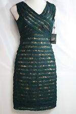ADRIANNA PAPELL CrissCross Emerald Green Lace Cocktail Dress Sz 6 NWT