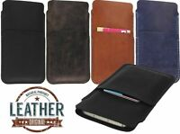 HAND STITCHED GENUINE LEATHER CASE COVER POUCH WITH CARD POCKET FOR MOBILE PHONE