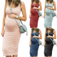 Maternity Midi Dresses Pregnant Women Summer Sleeveless Nursing Vest Dress US