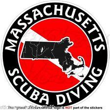 """MASSACHUSETTS SCUBA DIVING Flag-Map Shape USA 100mm (4"""") Circular Sticker Decal"""