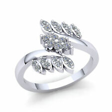Bypass Right Hand Ring 10K Gold 1ct Round Cut Diamond Bridal Fancy Leaf
