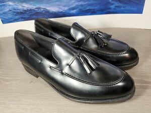 FLS Florsheim Tassel Loafers Black Slip-on Dress Shoes 335037 Men's Size 9.5E