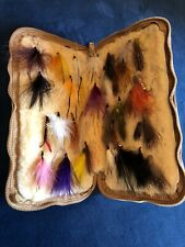 Vintage Fly Fishing Lambskin Fly Pouch with 33 Flies. Great Vintage Condition