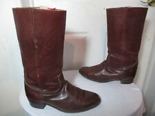 FRYE 2598 MEN'S DARK BROWN LEATHER WESTERN VINTAGE TALL BOOTS MADE IN USA 11 D