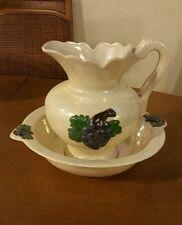 Vintage Porcelain Wash Basin and Bowl Grape Pattern Pearl Finish