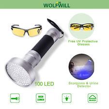 100 LED Blacklight Ultra Violet Flashlight Pet Urine Stain Detector Scorpion Lam