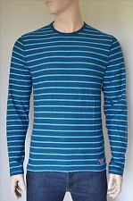 NUOVO Abercrombie & Fitch manica lunga a righe Crew Tee T-Shirt Blu L