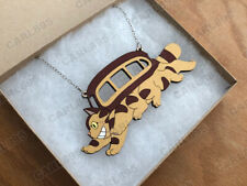 Totoro Catbus - Hand Painted Wood Necklace