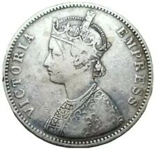 1882 B BRITISH INDIA FLAT TOP (1) One RUPEE Reverse I SCARCE SILVER COIN