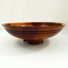 "Wood Art Bowl Footed Handmade Turned Signed T. Keefe 9¾"""