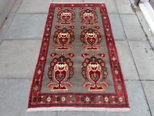 Old Traditional Hand Made Persian Oriental  Wool Brown Red Gabbeh Rug 178x102cm