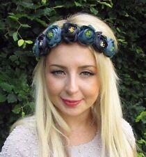 Dark Turquoise Blue Rose Bud Flower Headband Festival Hair Crown Garland 3266