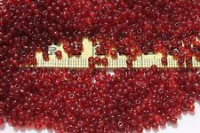 9/0 Vintage French Glass Trans Cranberry Seed Beads 1oz