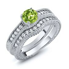 1.25 Ct Round Green Peridot Women's 925 Sterling Silver Engagement Ring Set