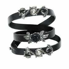 Alchemy Gothic Rose Of Perfection Swarovski Pewter Leather Wrap Bracelet
