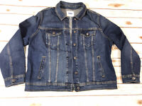 Old Navy Jacket Denim Trucker Blue Distressed Womens Size Xl Button Front Blue