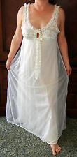 RARE FIND! ST MICHAELS GORGEOUS BRIDAL DOUBLE LAYER LACE CHIFFON NIGHTGOWN S EVC