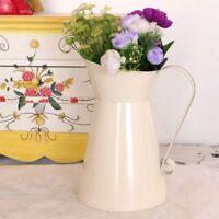 Vintage Shabby Creme Groß Vase Emaille Krug Kanne Hoch Metall Wohndeko de q2w