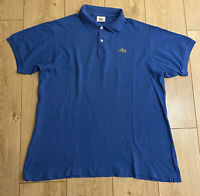 Lacoste Men's Polo T Shirt Blue Size 5 Medium 100% Cotton Short Sleeve Marks