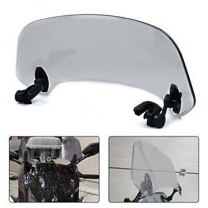 Smoke Motorcycle Adjustable Clip On Windshield Extension Spoiler Wind Deflector