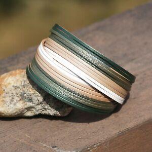 Retro Wide Green Leather Cuff Bracelet Magnetic Clasp , Wide Bangle Bracelet