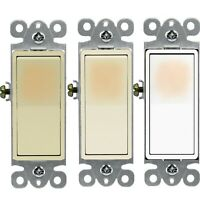 15 Amp Decorator Illuminated Backlit Rocker Light Switch  Single Pole SPST