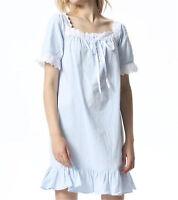 Womens Short Sleeve White Nightgown Cotton&Lace Pajama Sleepwear Sleep Dress