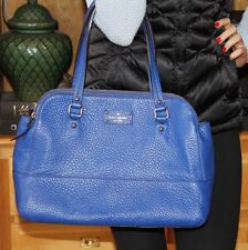 Kate Spade Lainey Grove Court French Blue pebbled leather satchel