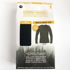 Omni Wool Mens Base Layer Top Size 2XL Crewneck Black Long Sleeve Merino Wool