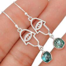 Hamsa Evil Eye - Neon Blue Apatite 925 Sterling Silver Earring Jewelry BE21827