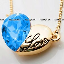 Engraved Love Heart Necklace Pendant Silver Plated Women Gifts For Her Girls B5