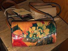 New Patricia Nash Multicolor Flower Leather Mini Handbag