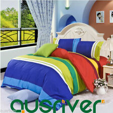 Bedroom Striped 100% Cotton Quilt Covers