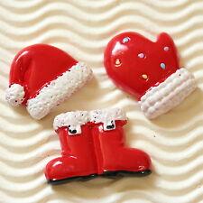 12 pc  x Hand Painted Santa Claus Resin Flatback Boot/Hat/Glove Christmas SB479