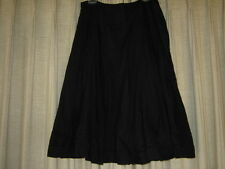 Black Boho Mid Calf Skirt - Very Fluid with Lace Inserts, size 12
