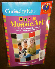 "Curiosity Kits Mini Mosaic Art - Create a 2"" x 3"" ceramic tile frame, magnet pin"