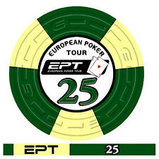 Blister da 25 fiches poker EPT Replica 2007 Ceramica Valore 25 Bordo Allineato