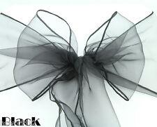 SASH BOW Organza Chair Cover Black Pink Purple Gold Blue Grey Green Red Ivory UK