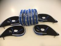10 new CALLAWAY ROGUE black/blue trim zip golf club IRON HEAD COVERS HEADCOVERS